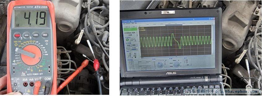 怠速时曲轴位置传感器输出信号的交流电压为4.