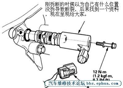 05年本田雅阁2.4 vtc机油控制电磁阀 拆装的意外